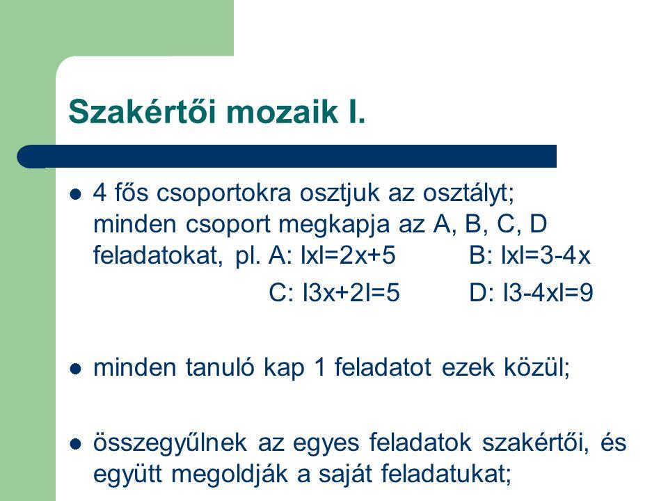 Szakértői mozaik I. 4 fős csoportokra osztjuk az osztályt; minden csoport megkapja az A, B, C, D feladatokat, pl. A: ІxІ=2x+5 B: ІxІ=3-4x.