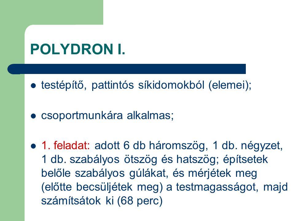 POLYDRON I. testépítő, pattintós síkidomokból (elemei);