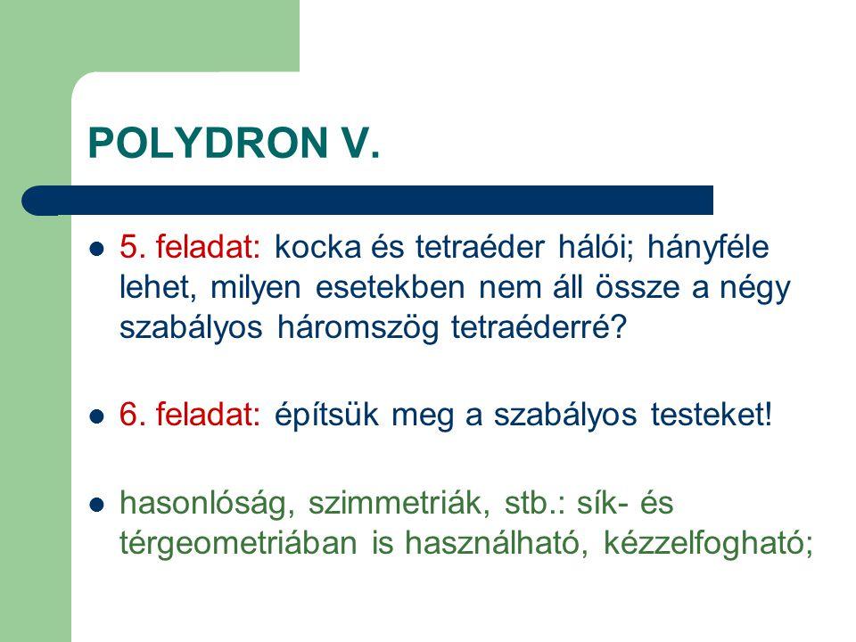 POLYDRON V. 5. feladat: kocka és tetraéder hálói; hányféle lehet, milyen esetekben nem áll össze a négy szabályos háromszög tetraéderré