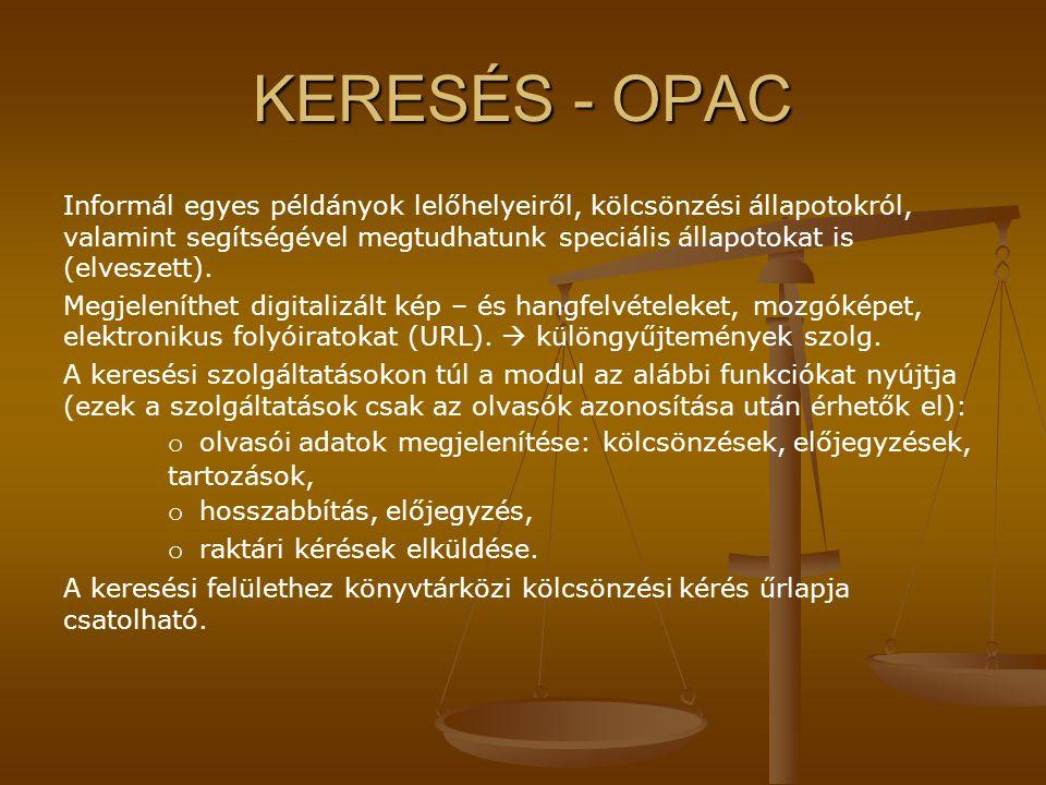 KERESÉS - OPAC