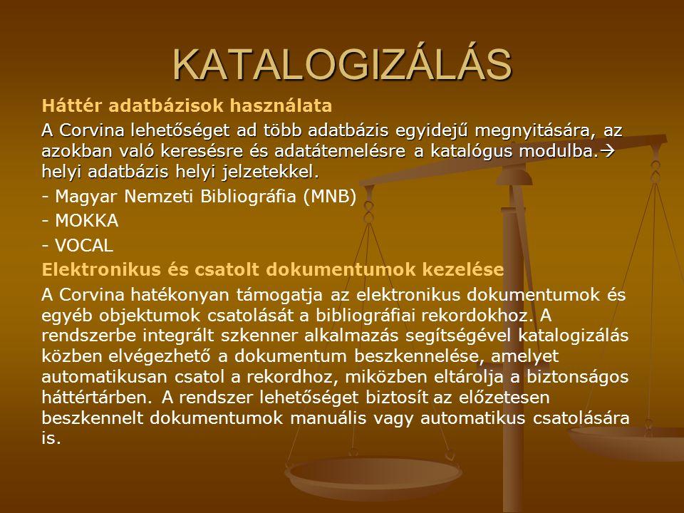 KATALOGIZÁLÁS Háttér adatbázisok használata