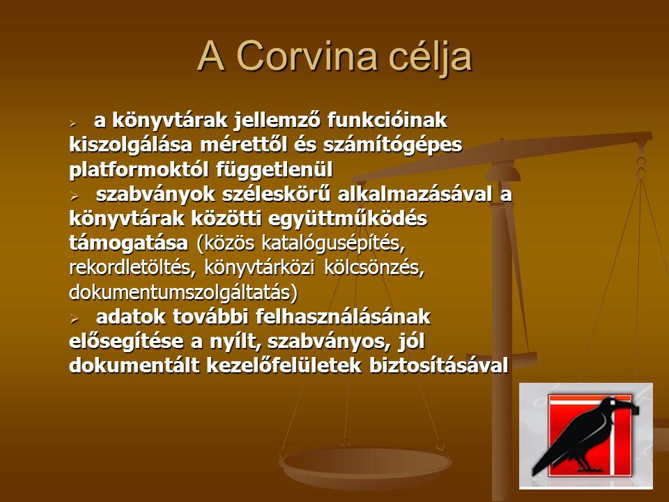 A Corvina célja a könyvtárak jellemző funkcióinak kiszolgálása mérettől és számítógépes platformoktól függetlenül.