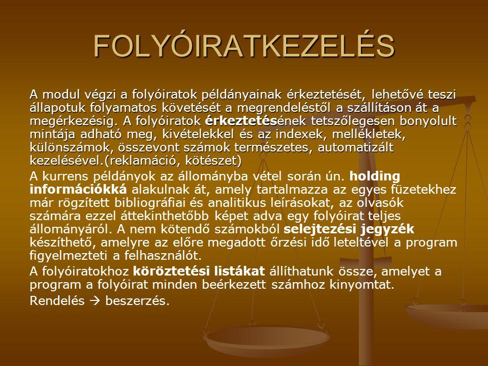 FOLYÓIRATKEZELÉS