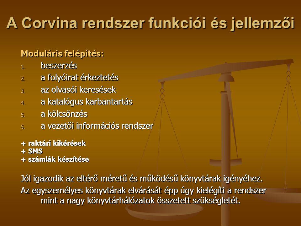 A Corvina rendszer funkciói és jellemzői