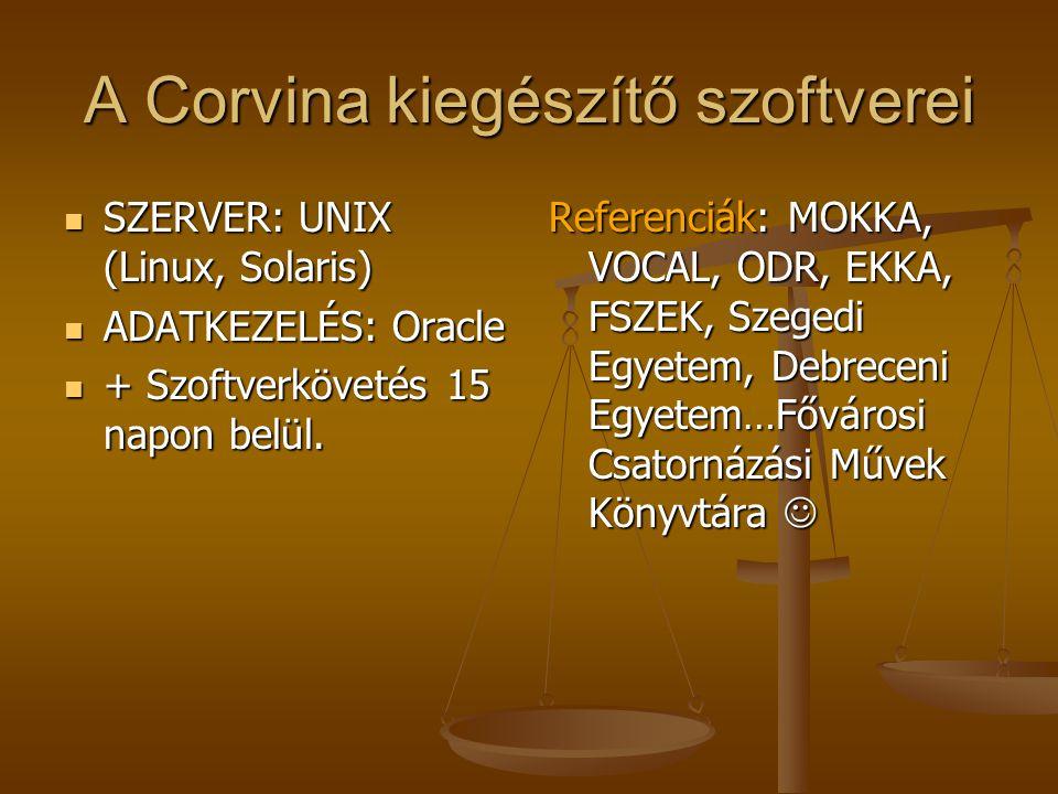A Corvina kiegészítő szoftverei