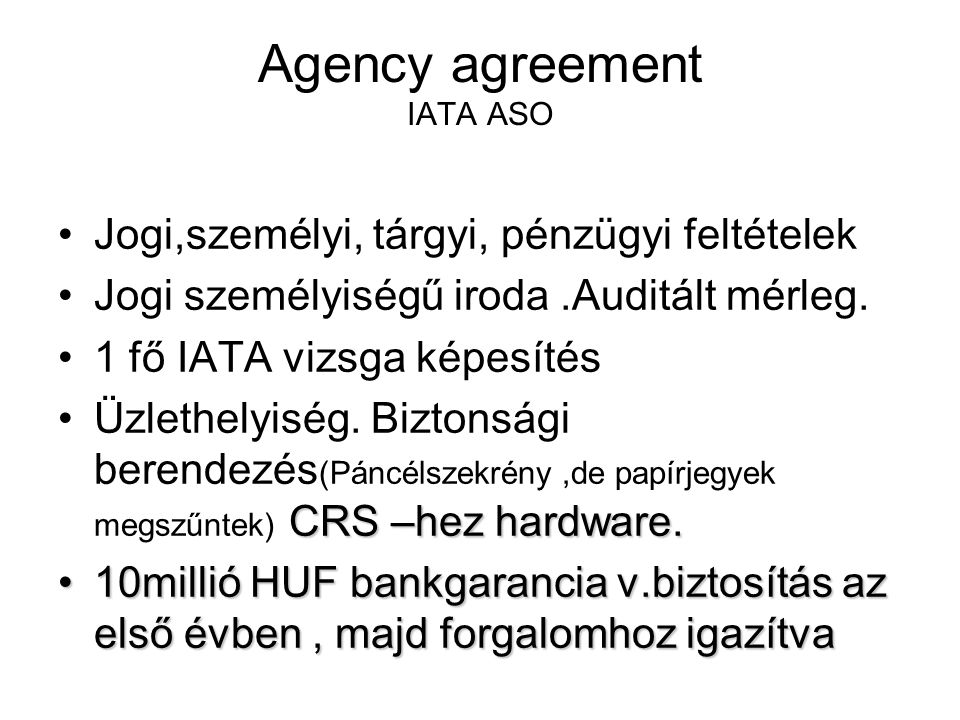 Agency agreement IATA ASO