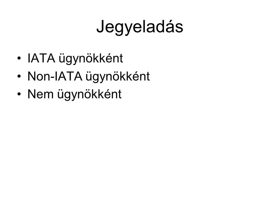 Jegyeladás IATA ügynökként Non-IATA ügynökként Nem ügynökként