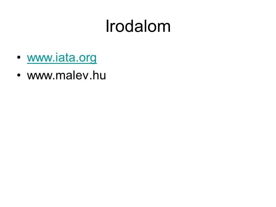 Irodalom www.iata.org www.malev.hu