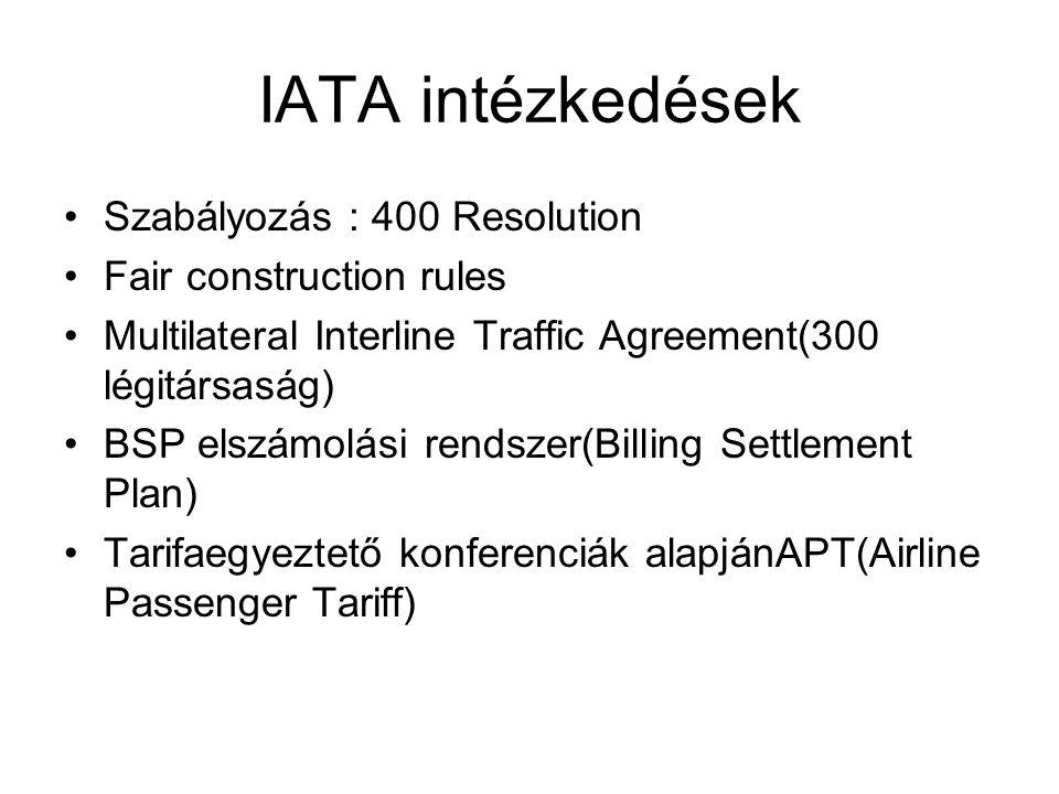 IATA intézkedések Szabályozás : 400 Resolution Fair construction rules