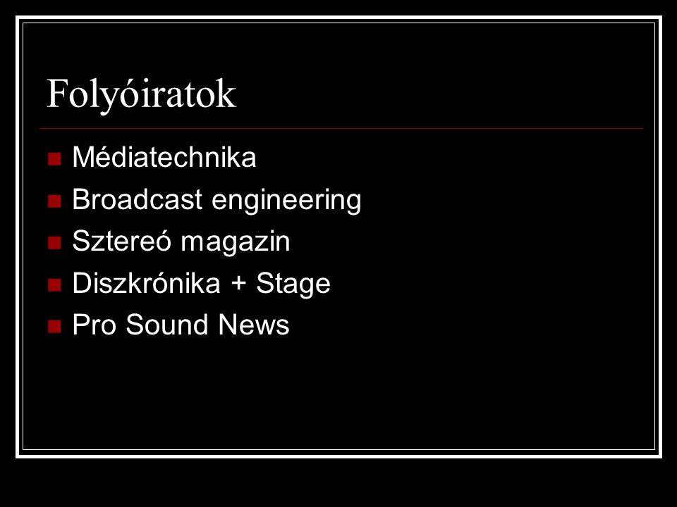 Folyóiratok Médiatechnika Broadcast engineering Sztereó magazin