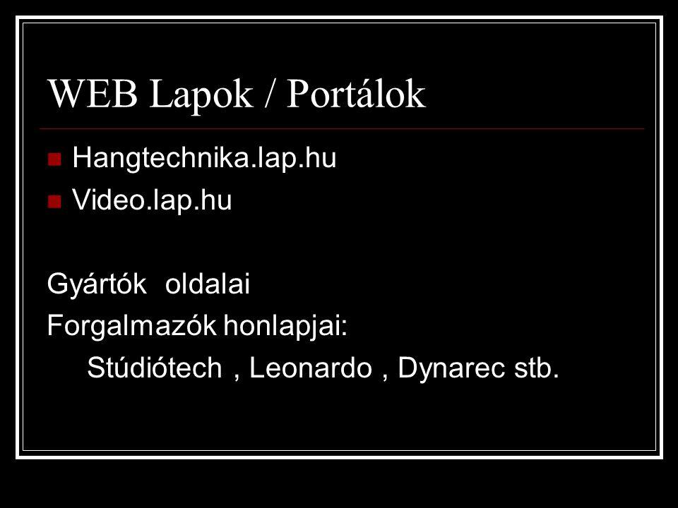 WEB Lapok / Portálok Hangtechnika.lap.hu Video.lap.hu Gyártók oldalai