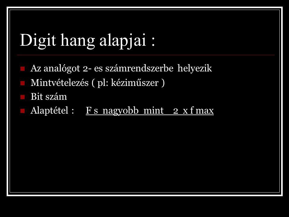 Digit hang alapjai : Az analógot 2- es számrendszerbe helyezik
