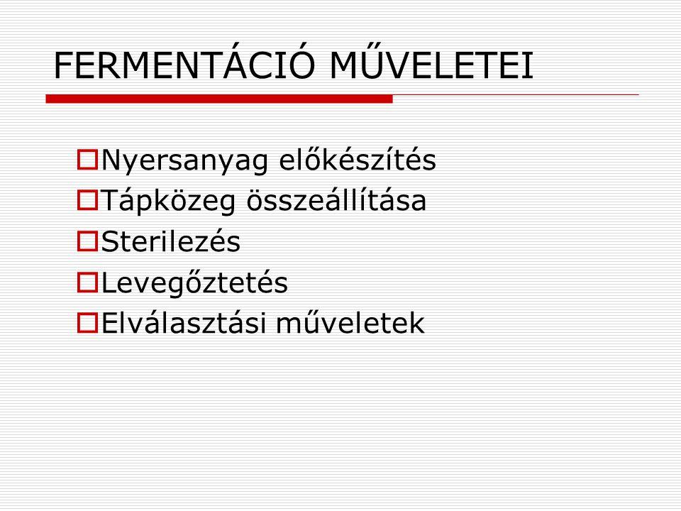 FERMENTÁCIÓ MŰVELETEI