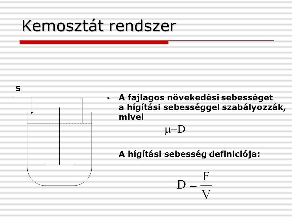 Kemosztát rendszer A fajlagos növekedési sebességet
