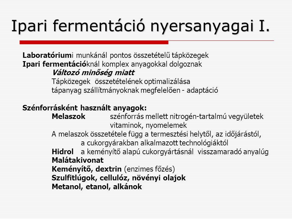Ipari fermentáció nyersanyagai I.