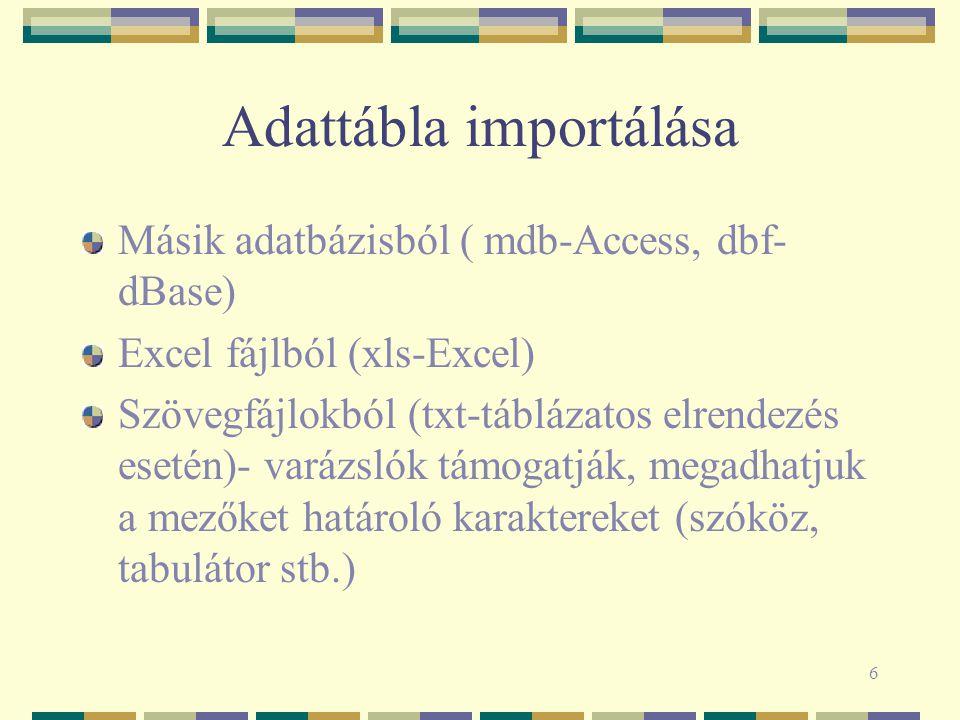 Adattábla importálása