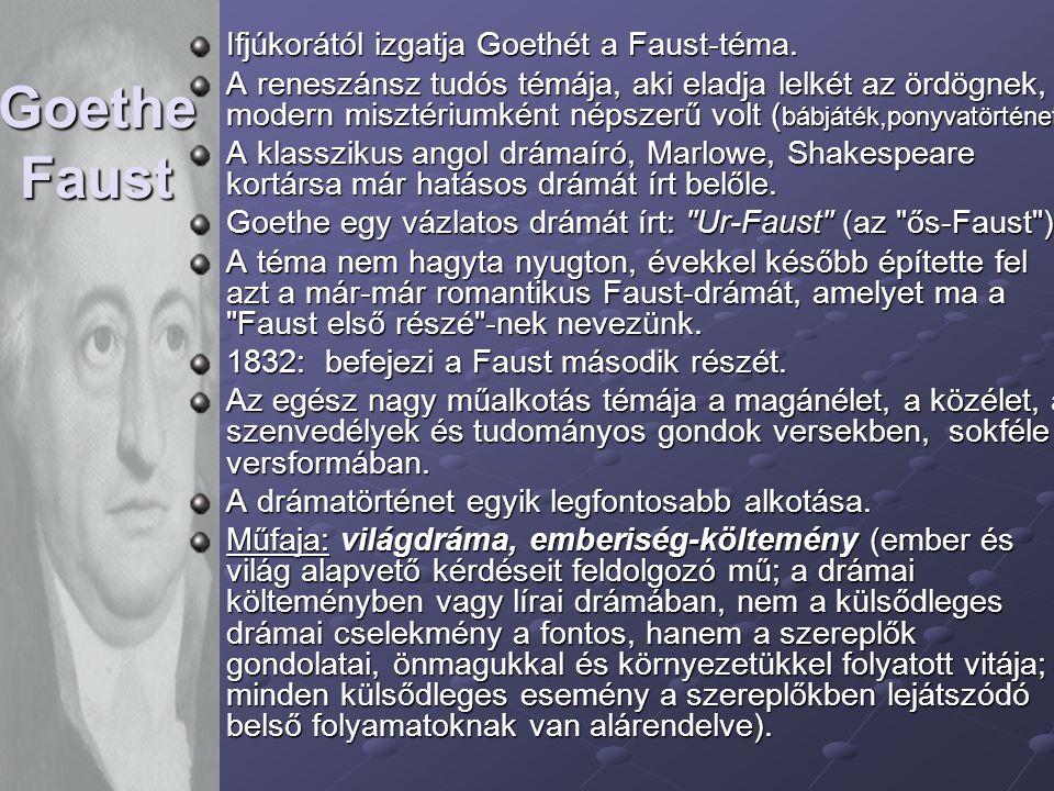 Goethe Faust Ifjúkorától izgatja Goethét a Faust-téma.