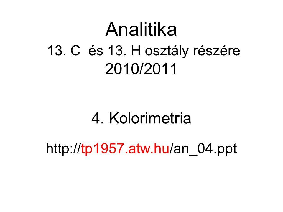 Analitika 13. C és 13. H osztály részére 2010/2011
