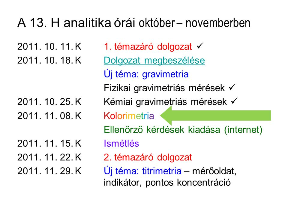 A 13. H analitika órái október – novemberben