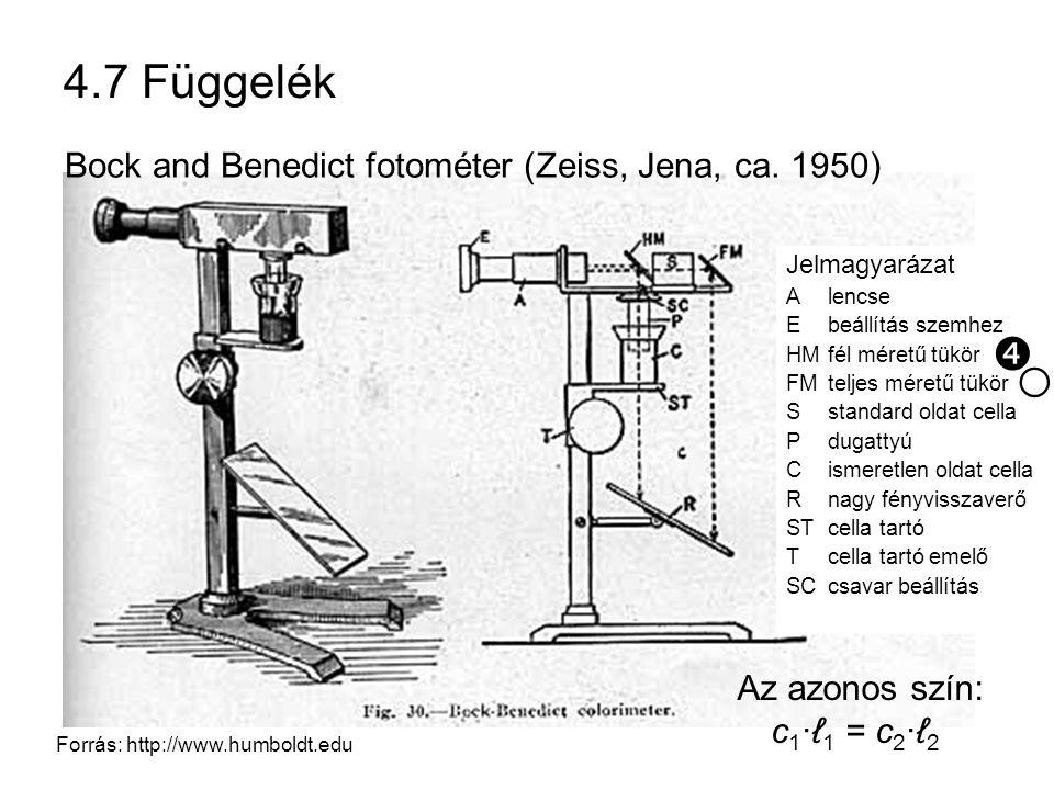 ○ 4.7 Függelék  Bock and Benedict fotométer (Zeiss, Jena, ca. 1950)
