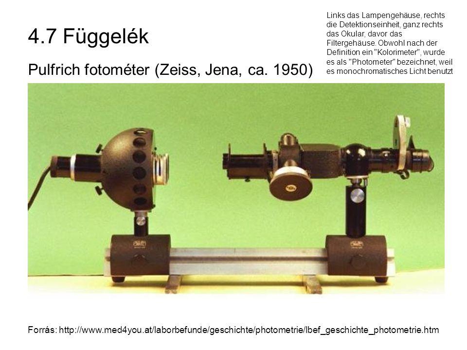 4.7 Függelék Pulfrich fotométer (Zeiss, Jena, ca. 1950)