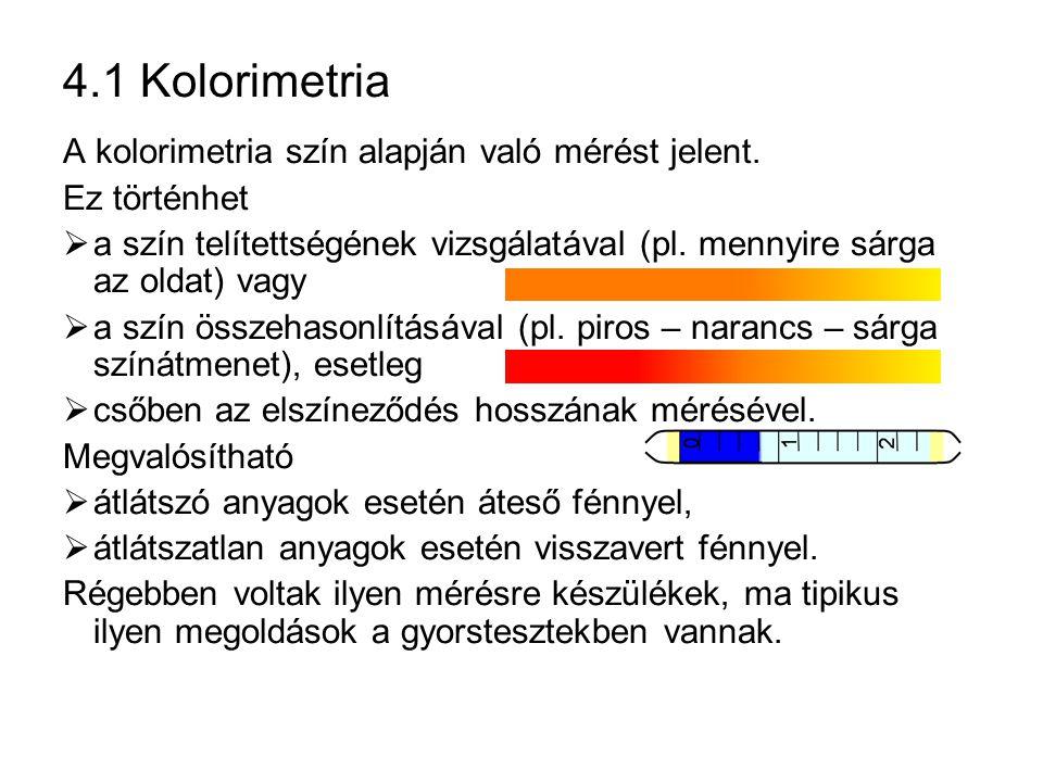 4.1 Kolorimetria A kolorimetria szín alapján való mérést jelent.