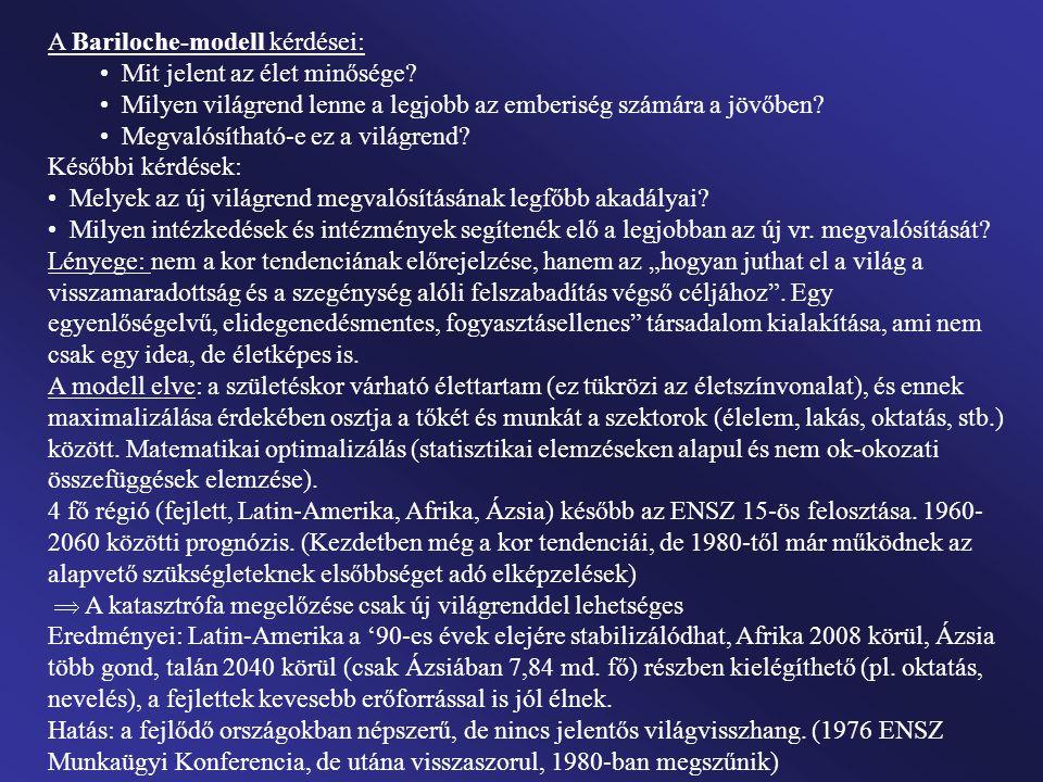 A Bariloche-modell kérdései: