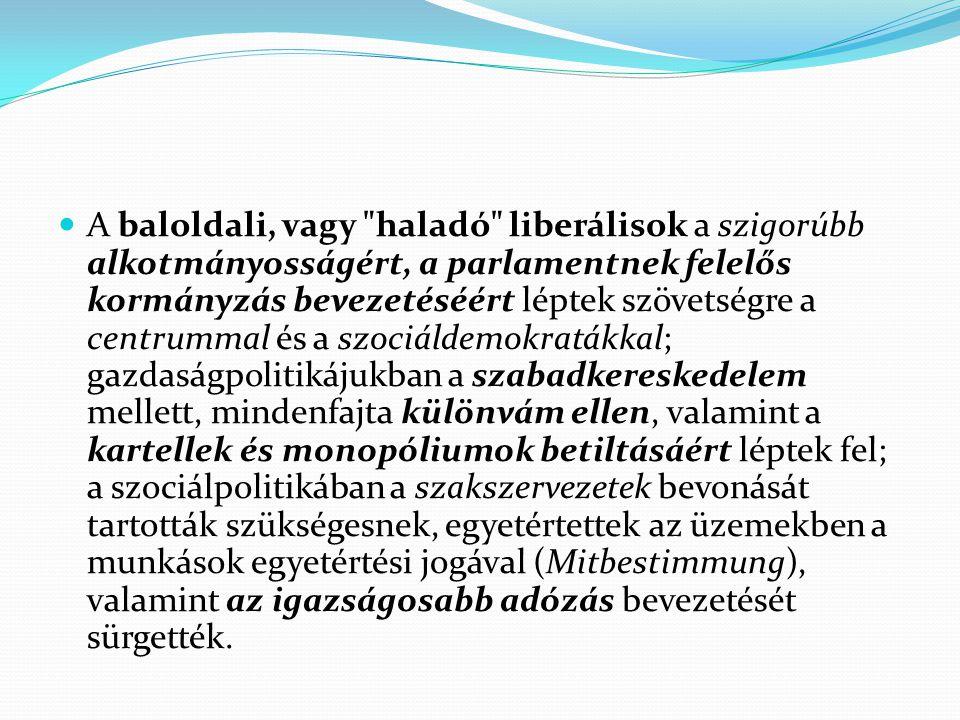 A baloldali, vagy haladó liberálisok a szigorúbb alkotmányosságért, a parlamentnek felelős kormányzás bevezetéséért léptek szövetségre a centrummal és a szociáldemokratákkal; gazdaságpolitikájukban a szabadkereskedelem mellett, mindenfajta különvám ellen, valamint a kartellek és monopóliumok betiltásáért léptek fel; a szociálpolitikában a szakszervezetek bevonását tartották szükségesnek, egyetértettek az üzemekben a munkások egyetértési jogával (Mitbestimmung), valamint az igazságosabb adózás bevezetését sürgették.