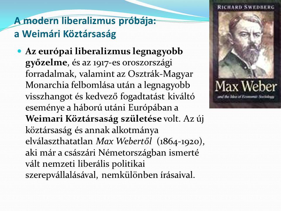 A modern liberalizmus próbája: a Weimári Köztársaság