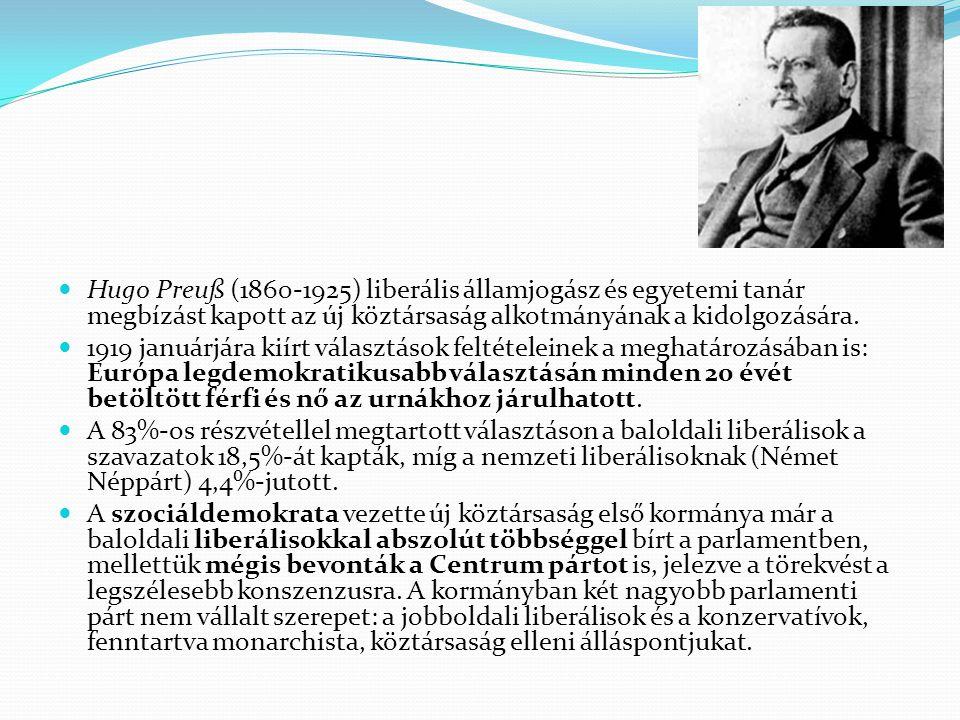 Hugo Preuß (1860-1925) liberális államjogász és egyetemi tanár megbízást kapott az új köztársaság alkotmányának a kidolgozására.