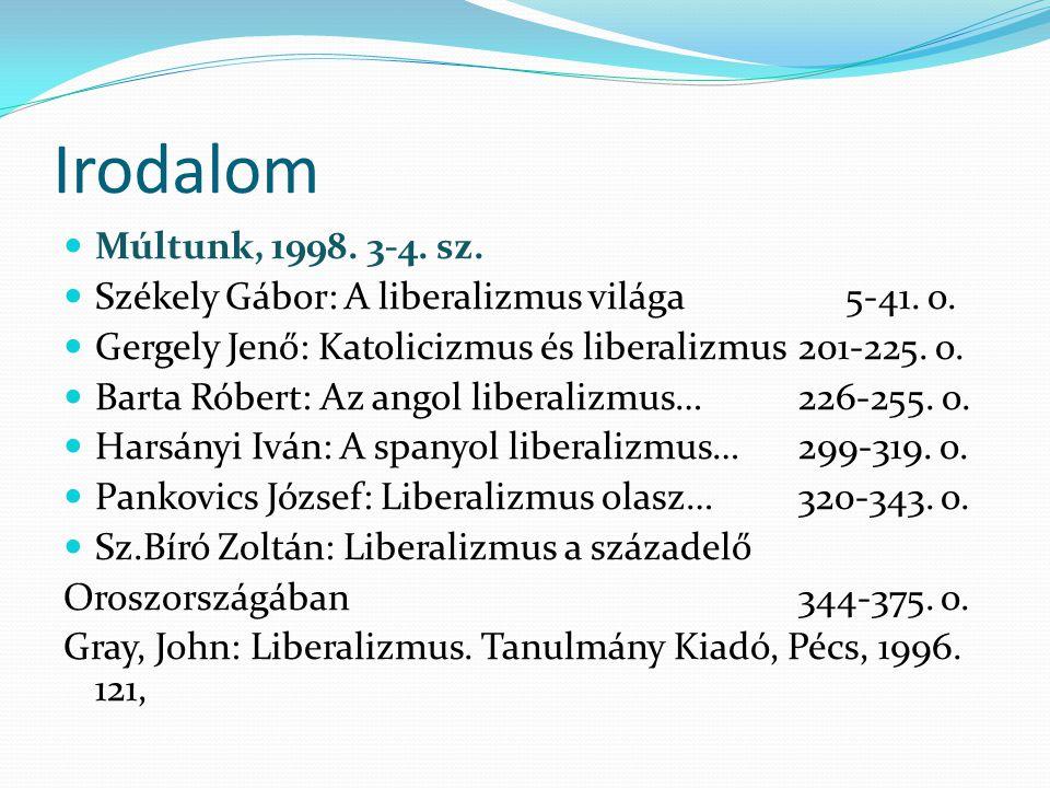 Irodalom Múltunk, 1998. 3-4. sz. Székely Gábor: A liberalizmus világa 5-41. o. Gergely Jenő: Katolicizmus és liberalizmus 201-225. o.