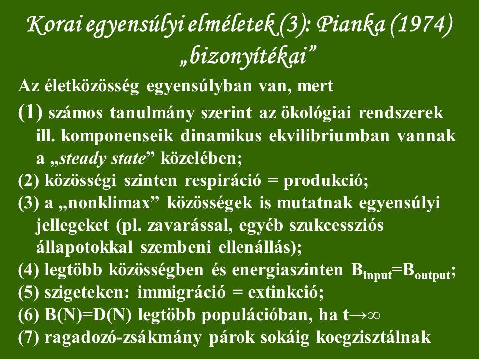 """Korai egyensúlyi elméletek (3): Pianka (1974) """"bizonyítékai"""