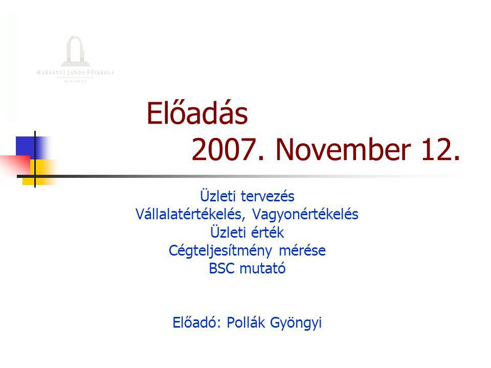 Előadás 2007. November 12. Üzleti tervezés