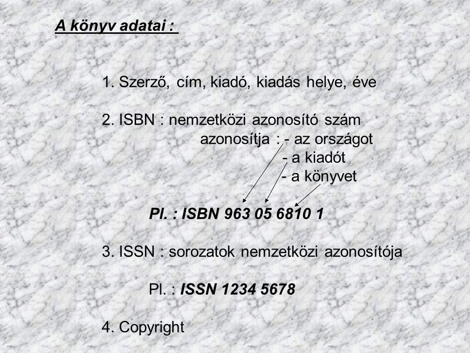 A könyv adatai : 1. Szerző, cím, kiadó, kiadás helye, éve. 2. ISBN : nemzetközi azonosító szám.