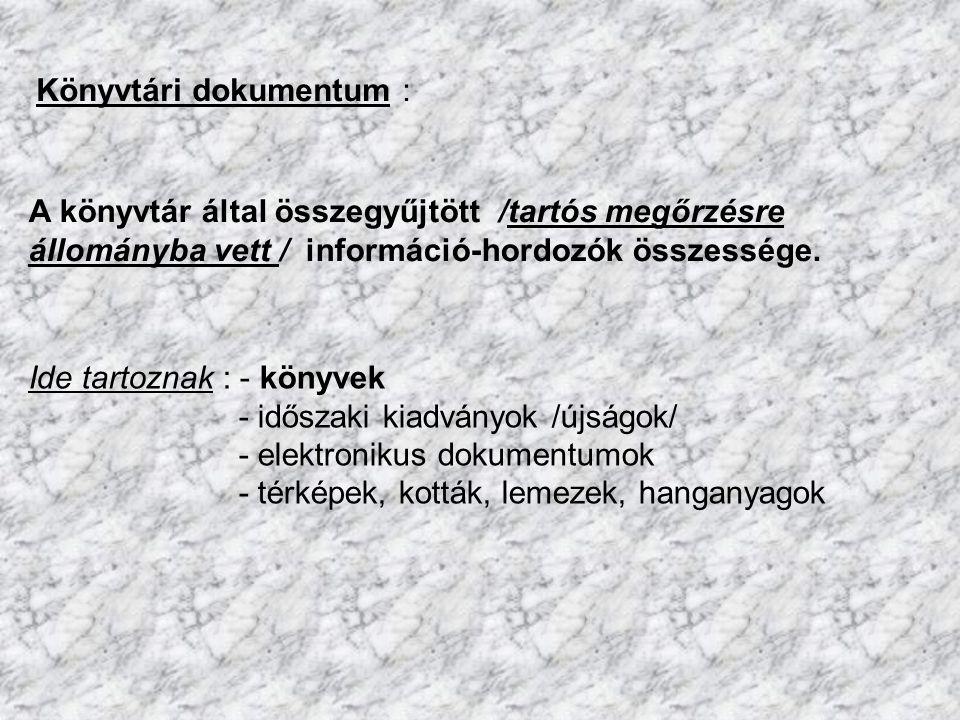Könyvtári dokumentum :