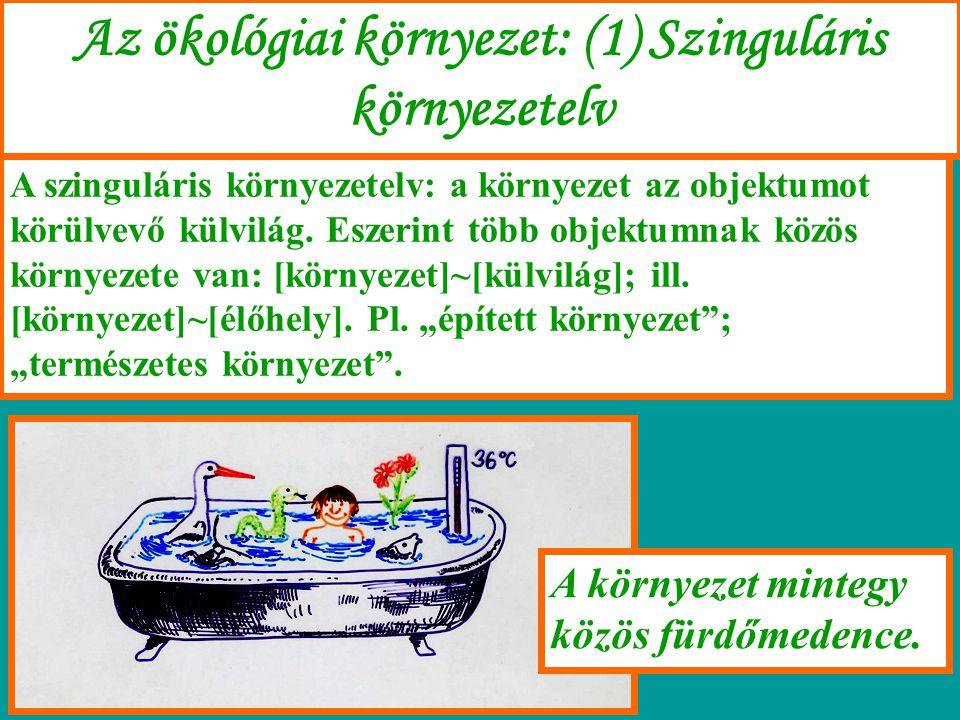 Az ökológiai környezet: (1) Szinguláris környezetelv