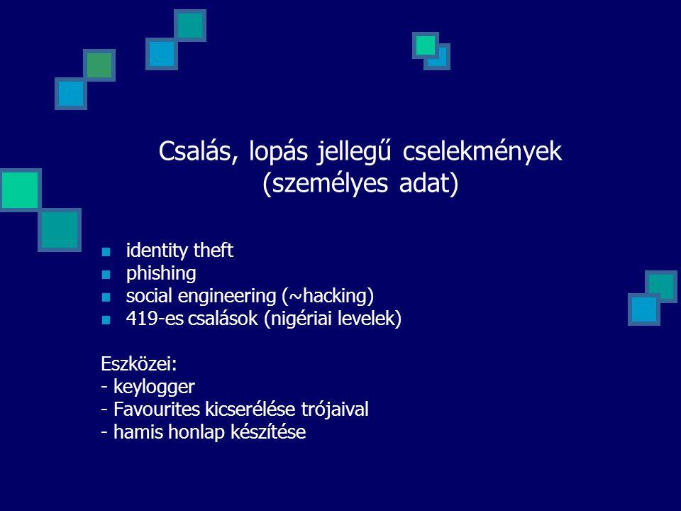 Csalás, lopás jellegű cselekmények (személyes adat)