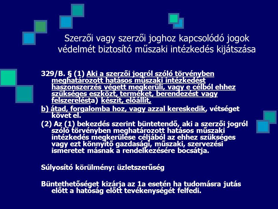 Szerzői vagy szerzői joghoz kapcsolódó jogok védelmét biztosító műszaki intézkedés kijátszása
