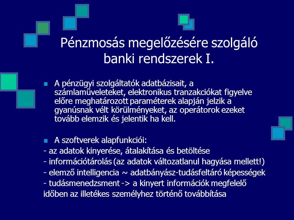 Pénzmosás megelőzésére szolgáló banki rendszerek I.