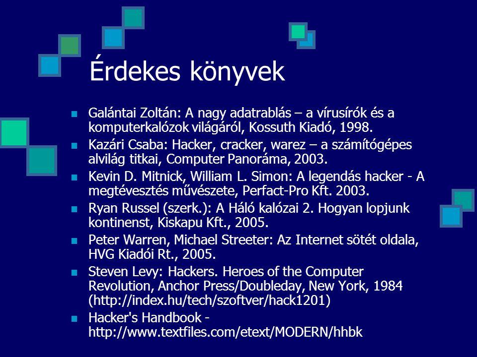 Érdekes könyvek Galántai Zoltán: A nagy adatrablás – a vírusírók és a komputerkalózok világáról, Kossuth Kiadó, 1998.