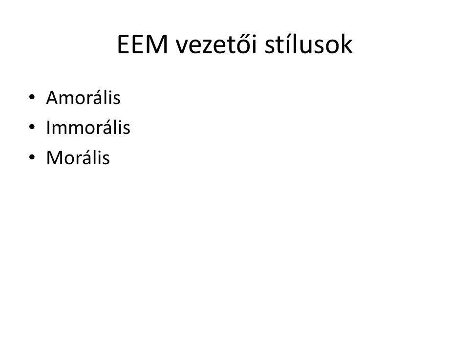 EEM vezetői stílusok Amorális Immorális Morális