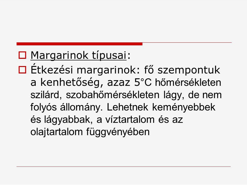 Margarinok típusai:
