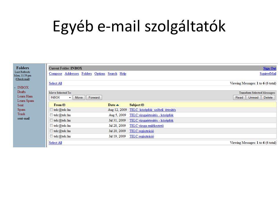 Egyéb e-mail szolgáltatók