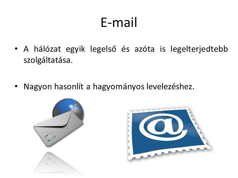 E-mail A hálózat egyik legelső és azóta is legelterjedtebb szolgáltatása.