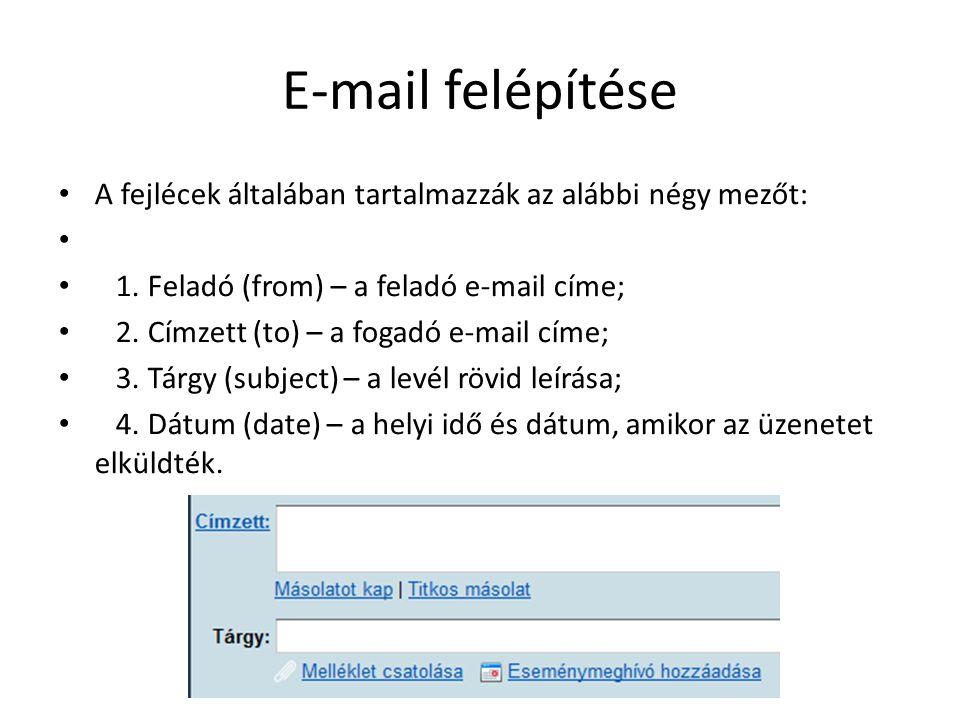 E-mail felépítése A fejlécek általában tartalmazzák az alábbi négy mezőt: 1. Feladó (from) – a feladó e-mail címe;