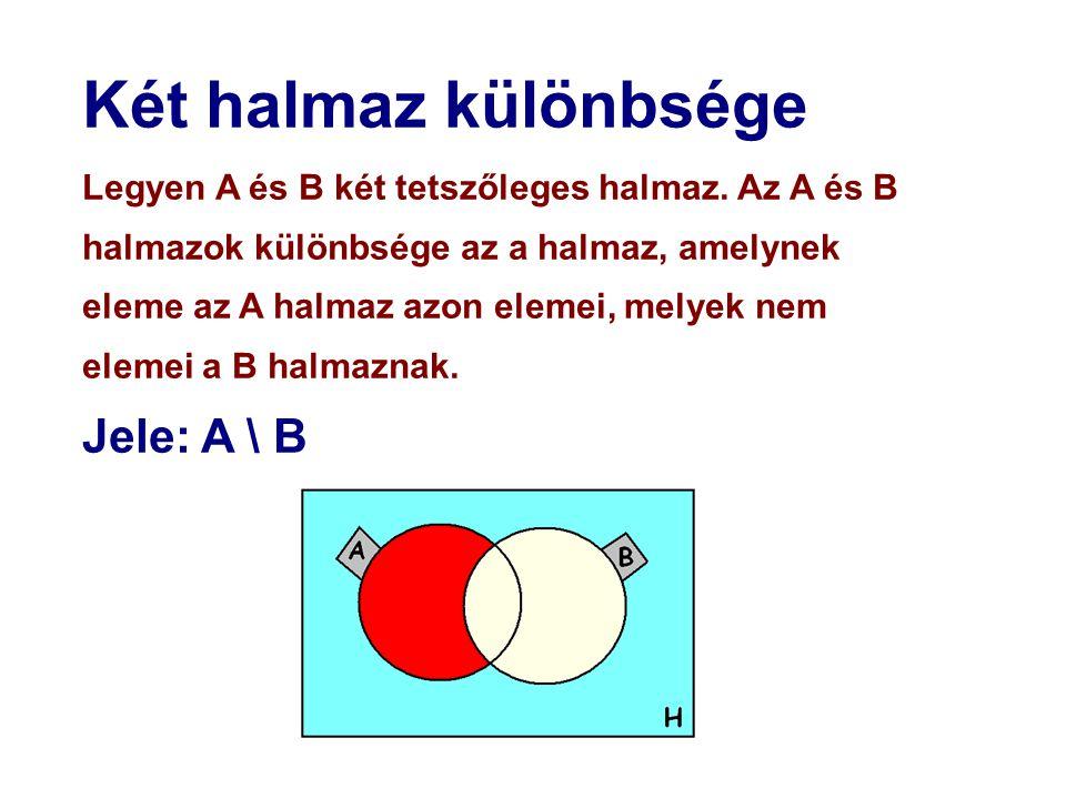 Két halmaz különbsége Jele: A \ B