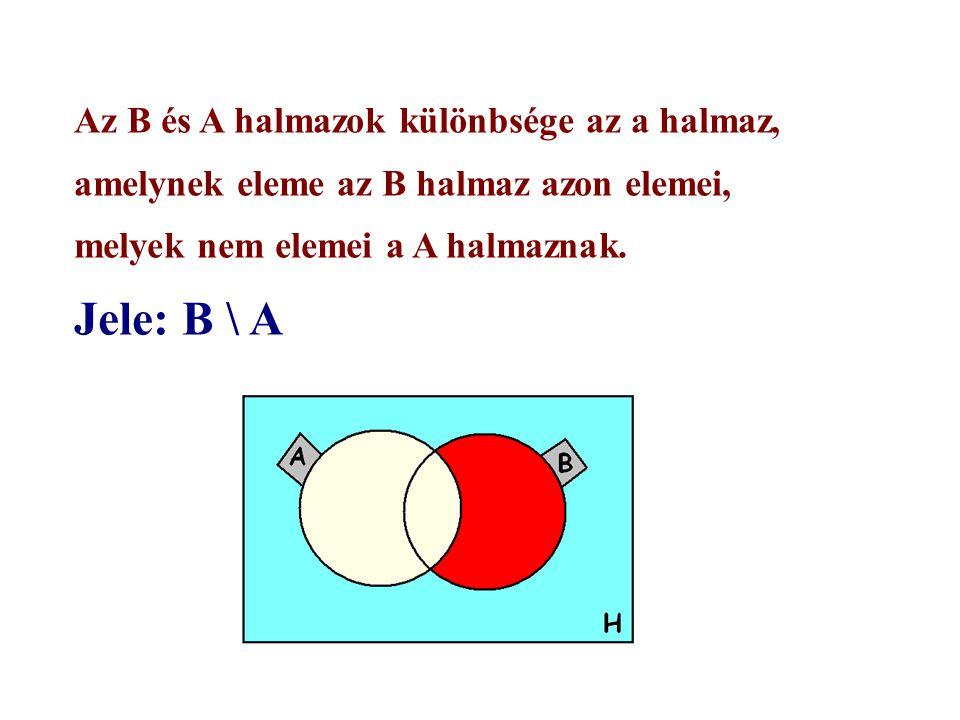 Az B és A halmazok különbsége az a halmaz, amelynek eleme az B halmaz azon elemei, melyek nem elemei a A halmaznak.