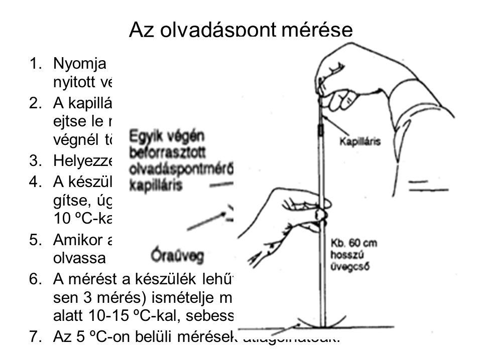 Az olvadáspont mérése Nyomja a mérendő anyag finom porába a kapilláris nyitott végét.