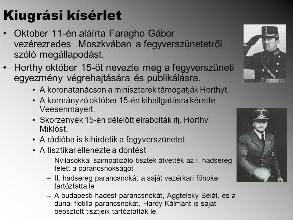 Kiugrási kísérlet Oktober 11-én aláírta Faragho Gábor vezérezredes Moszkvában a fegyverszünetetről szóló megállapodást.