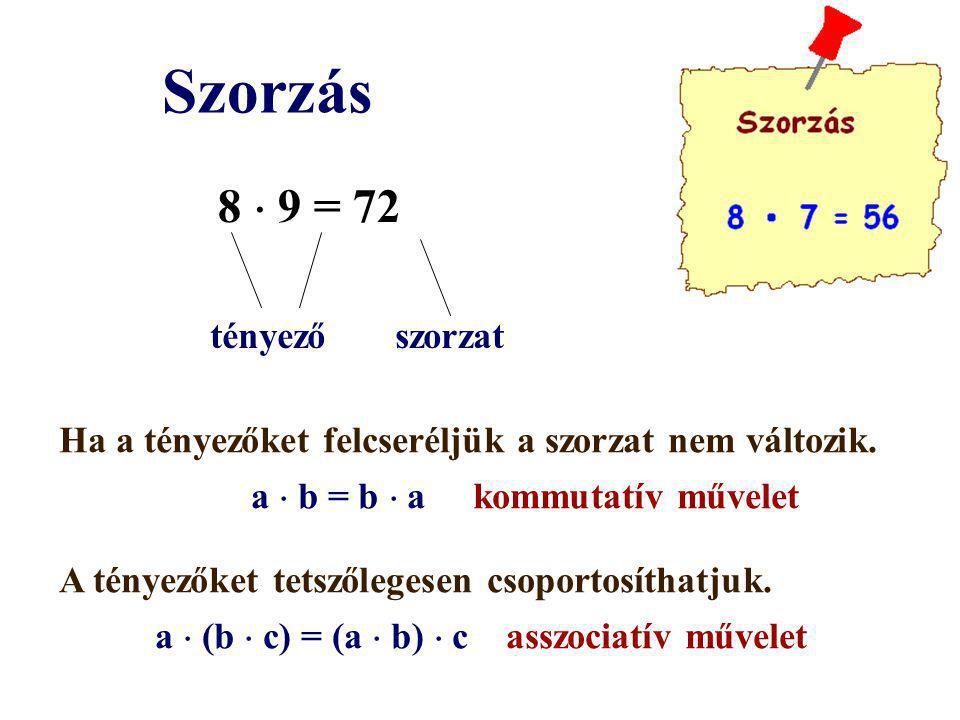 Szorzás 8  9 = 72 tényező szorzat